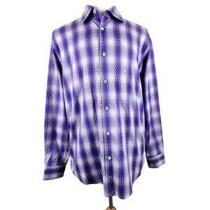 Bugatchi Purple Geometric pattern dress shirt